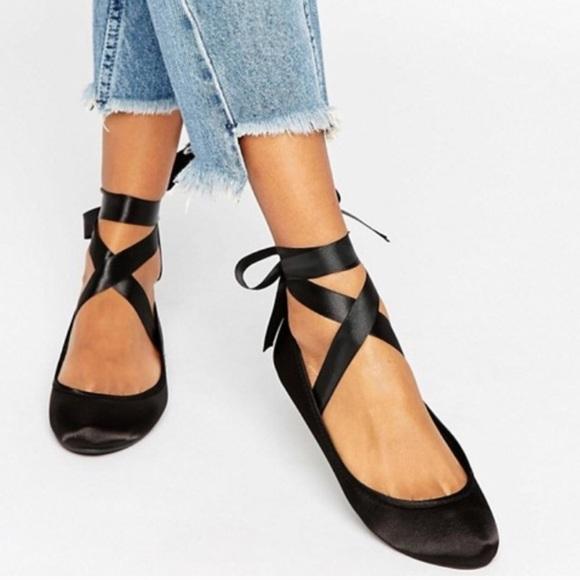 b00adc084 ASOS Shoes | Lace Up Ribbon Black Ballerina Flats | Poshmark